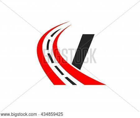 Transport Logo With V Letter Concept. V Letter Road Logo Design Template