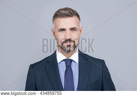 Confident Businessman Man In Businesslike Suit Has Grizzled Hair, Mature