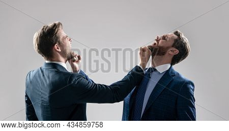 Disagreed Men Business Partners Fighting Aggressive And Angry While Conflict, Business Fight.