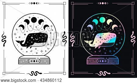 Mystic Magic Ball With Celestial Whale And Moon Phases And Night Sky. Holographic And Black Illustra