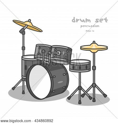 The Drum Set Is A Percussion Instrument. It Consists Of A Drum And Several Cymbals, Vector Design An