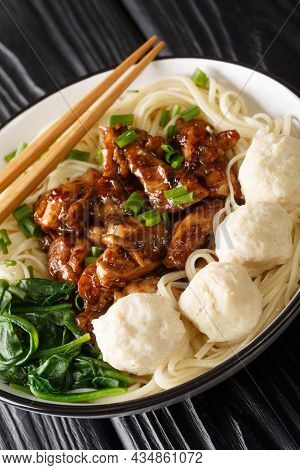 Mie Ayam Is One Of The Most Popular Noodle Dishes In Indonesia, It Yellow Wheat Noodles With Diced C