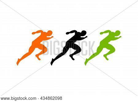 Sport Running Man Front View Logo. Running Man Silhouette Logo Template For Marathon, Template, Runn