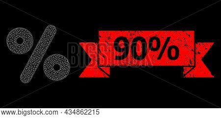 Mesh Polygonal Percent On A Black Background, And 90 Percent Textured Ribbon Seal Print. Red Stamp S