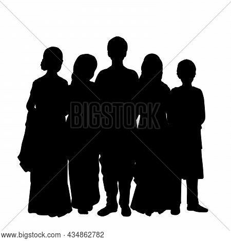 Silhouettes Of Indian Children. Bal Diwas. Raksha Bandhan. Illustration Symbol Icon