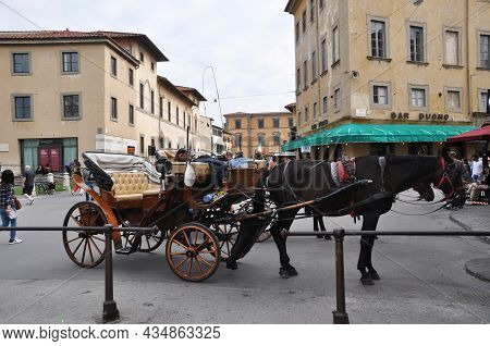 Lightweight Open Carriage. A Carriage For Walking Around The City. 07 October 2014, Milan, Italy.