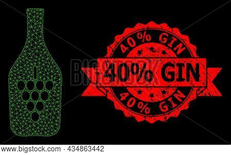 Mesh Network Wine Bottle On A Black Background, And 40 Percent Gin Rubber Ribbon Seal Print. Red Sta