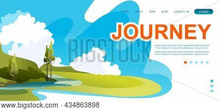 Vector Banner Template For Home Landing Page, Abstract Background, Wilderness Landscape Summer Meado