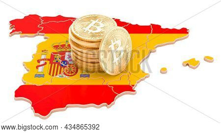 Bitcoin Cryptocurrency In Spain, 3d Rendering Isolated On White Background