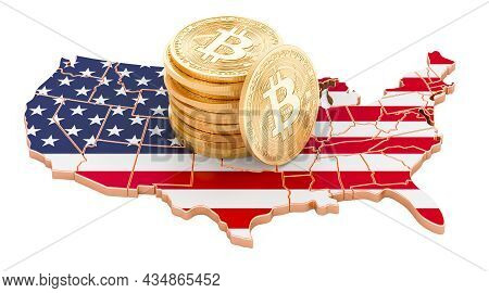 Bitcoin Cryptocurrency In The Usa, 3d Rendering Isolated On White Background