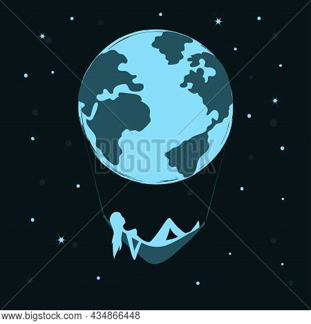 The Earth And Woman Lying In Hammock. Abstract Poster. Earth Day Celebration. Citizen Of The World C
