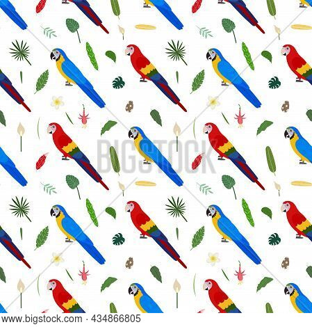 Seamless Pattern With Macaw Parrots Red And Blue, Tropical Leaves And Flowers. Cute Baby Print For F