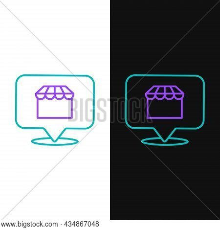 Line Online Shopping Concept. Buy On Screen Laptop Icon Isolated On White And Black Background. Conc