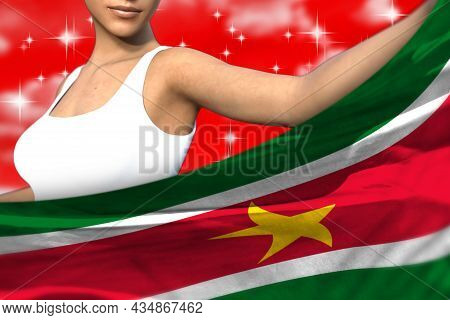Cute Girl Is Holding Suriname Flag In Front Of Her On The Red Colorful Clouds - Flag Concept 3d Illu