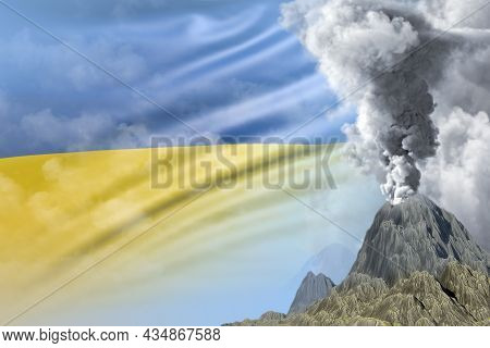 Stratovolcano Eruption At Day Time With White Smoke On Ukraine Flag Background, Troubles Because Of