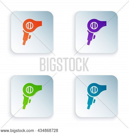 Color Hair Dryer Icon Isolated On White Background. Hairdryer Sign. Hair Drying Symbol. Blowing Hot