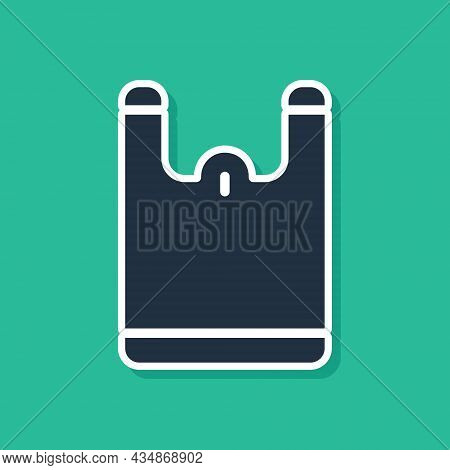 Blue Plastic Bag Icon Isolated On Green Background. Disposable Cellophane And Polythene Package Proh