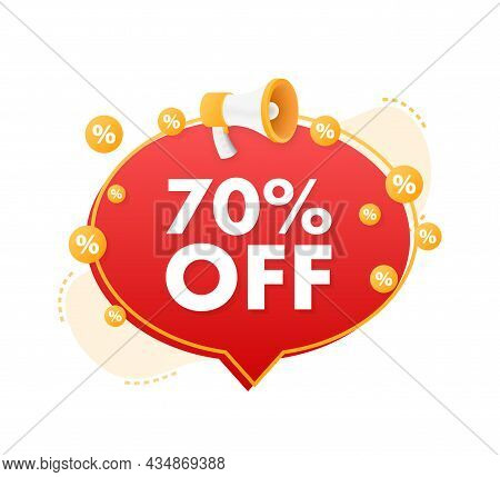 70 Percent Off Sale Discount Banner With Megaphone. Discount Offer Price Tag. 70 Percent Discount Pr
