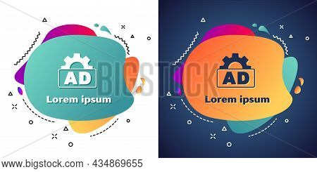 White Advertising Icon Isolated On White And Blue Background. Concept Of Marketing And Promotion Pro