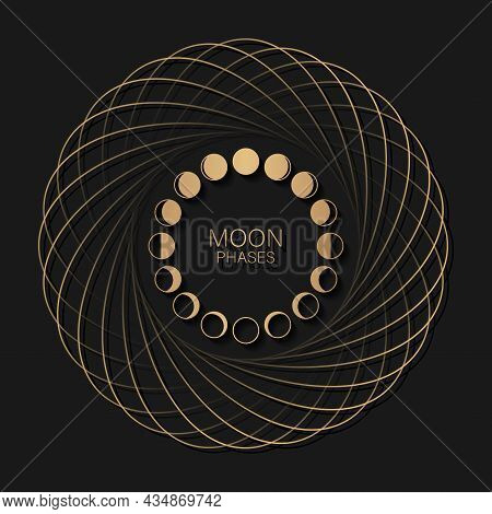 Moon Phases Astronomy Icon Set In Round Frame Lunar Cycle, Full Moon, Waning, Waxing, First Quarter,