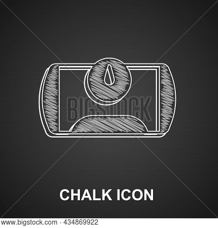Chalk Gas Tank For Vehicle Icon Isolated On Black Background. Gas Tanks Are Installed In A Car. Vect