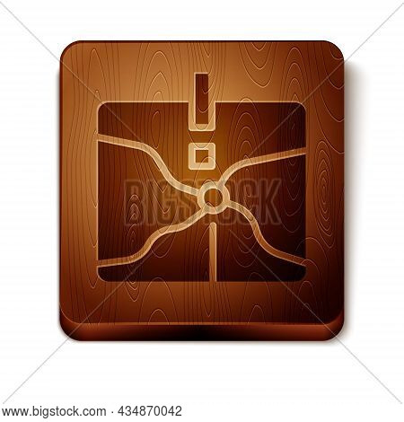 Brown Intersection Point Icon Isolated On White Background. Wooden Square Button. Vector