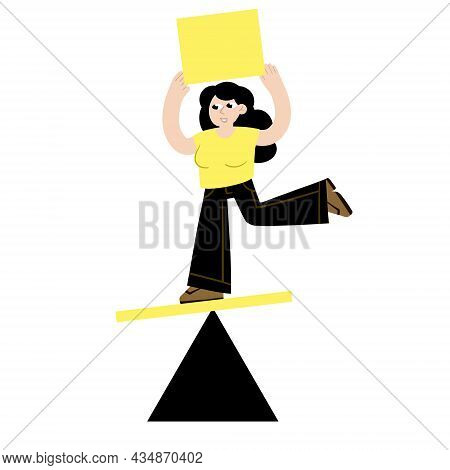 Woman Balancing On Geometric Figure. Concept Of Problem Solving And Multitasking. Balance In Life. F