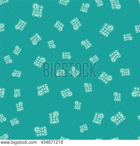 Green Carton Cardboard Box And Fast Time Delivery Icon Isolated Seamless Pattern On Green Background