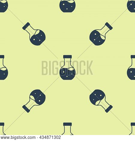 Blue Test Tube And Flask Chemical Laboratory Test Icon Isolated Seamless Pattern On Yellow Backgroun
