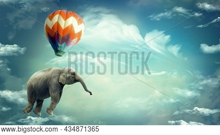 Huge Elephant Floating Or Flying With Air Balloon With Sky And Clouds Background. Fantastic Surreal
