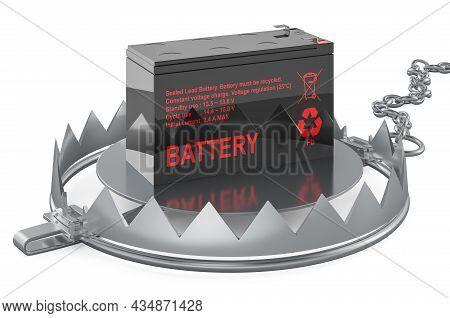 Bear Trap With Sealed Ups Battery, 3d Rendering Isolated On White Background