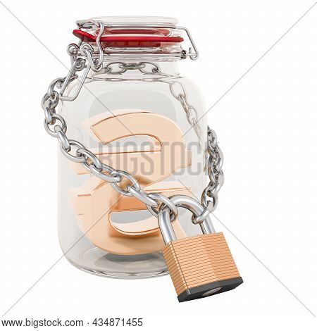 Hryvnia Symbol Inside Glass Jar With Chain And Padlock. Financial Insurance Concept. 3d Rendering Is