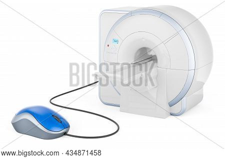 Mri With Computer Mouse. 3d Rendering Isolated On White Background