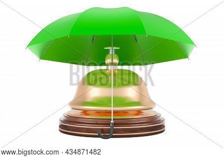 Reception Bell Under Umbrella, 3d Rendering Isolated On White Background