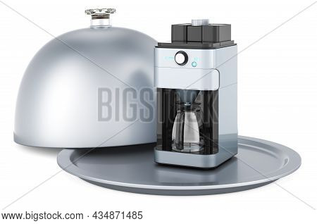 Restaurant Cloche With Coffee Machine, 3d Rendering Isolated On White Background