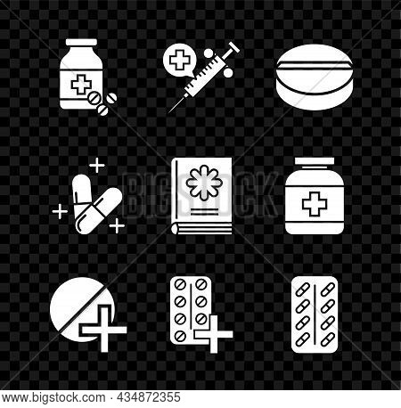 Set Medicine Bottle And Pills, Medical Syringe With Needle, Or Tablet, Pills Blister Pack, And Book