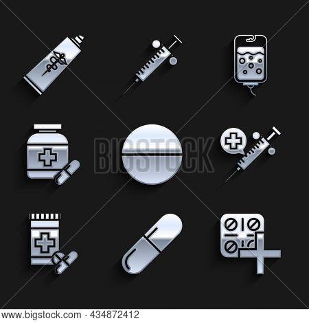 Set Medicine Pill Or Tablet, Pills Blister Pack, Medical Syringe With Needle, Bottle And Pills, Iv B