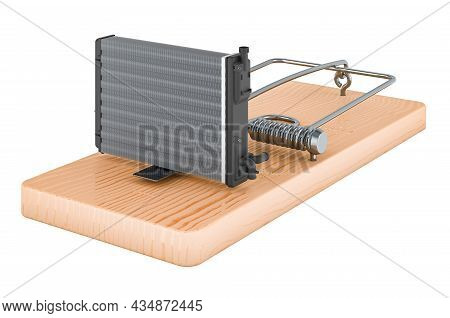 Car Radiator Inside Mousetrap, 3d Rendering Isolated On White Background