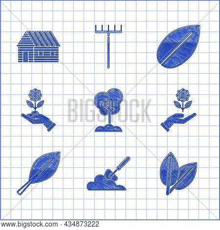 Set Tree In The Ground, Garden Trowel Spade Or Shovel, Leafs, Hand Holding Flower, And Farm House Ic