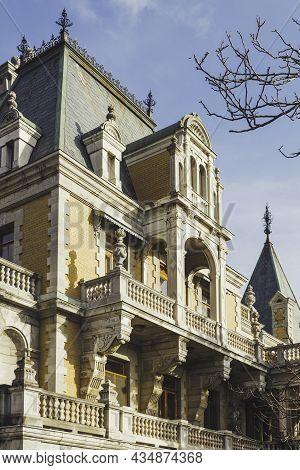 Massandra, Crimea - February 10, 2015. Facade Of Massandra Palace. Chateauesque Villa Of Emperor Ale