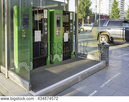 Moscow, Russia - August 22, 2021. Modern Parking Meters On Parking Lot. Parking Payment Terminal Use