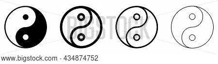 Yin Yang Linear Symbol. Set Of Black Symbols Of Harmony And Balance. Religion Symbol Of Taoism. Vect