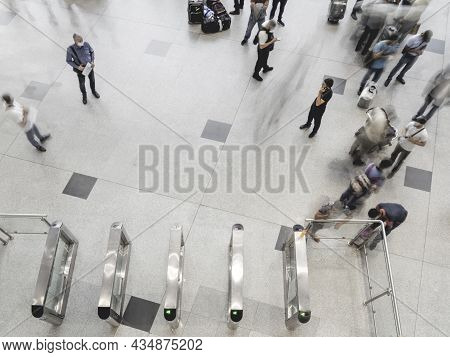 Moscow, Russia - June 28, 2021. Top View On Moving People On First Floor At Domodedovo Airport Hall.