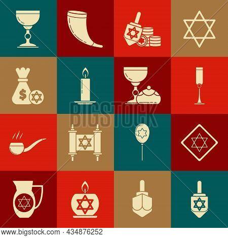 Set Hanukkah Dreidel, Star Of David, Jewish Goblet, And Coin, Burning Candle Candlestick, Money Bag