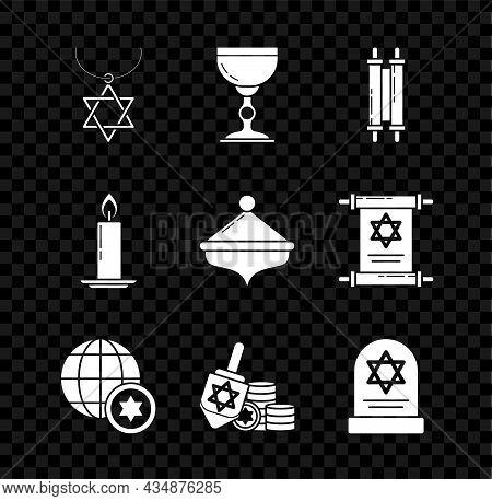 Set Star Of David Necklace On Chain, Jewish Goblet, Torah Scroll, World Globe And Israel, Hanukkah D