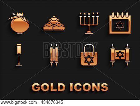 Set Torah Scroll, Jewish Calendar With Star Of David, Shopping Bag, Goblet, Hanukkah Menorah, Pomegr