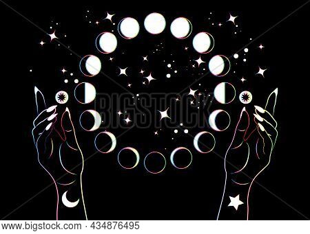 Mystical Moon Phases And Woman Hands, Colorful Spectrum Pagan Wiccan Goddess Symbol, Alchemy Esoteri