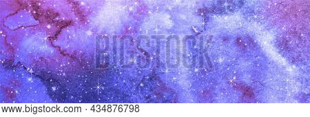 Blue Watercolor Galaxy Texture. Night Starry Sky Vector Background. Abstract Art Illustration. Fanta