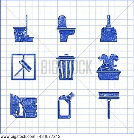 Set Trash Can, Plastic Bottles For Liquid Dishwashing Liquid, Squeegee, Scraper, Wiper, Basin With S