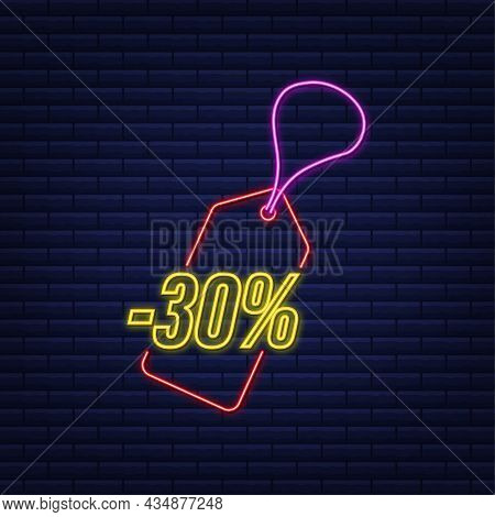 30 Percent Off Sale Discount Neon Tag. Discount Offer Price Tag. 30 Percent Discount Promotion Flat
